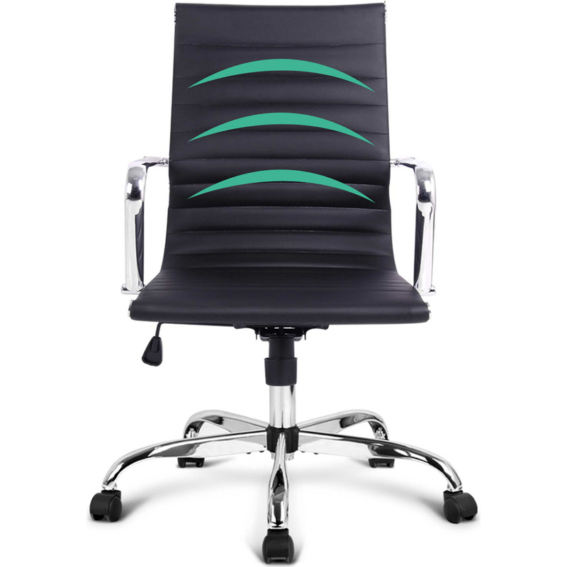 Chic Eames Replica PU Leather Office Chair In Black Buy Boardroom Chairs