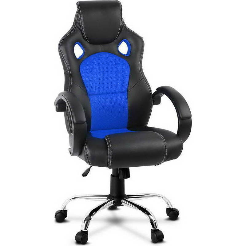 pu leather mesh racing office chair in black blue buy