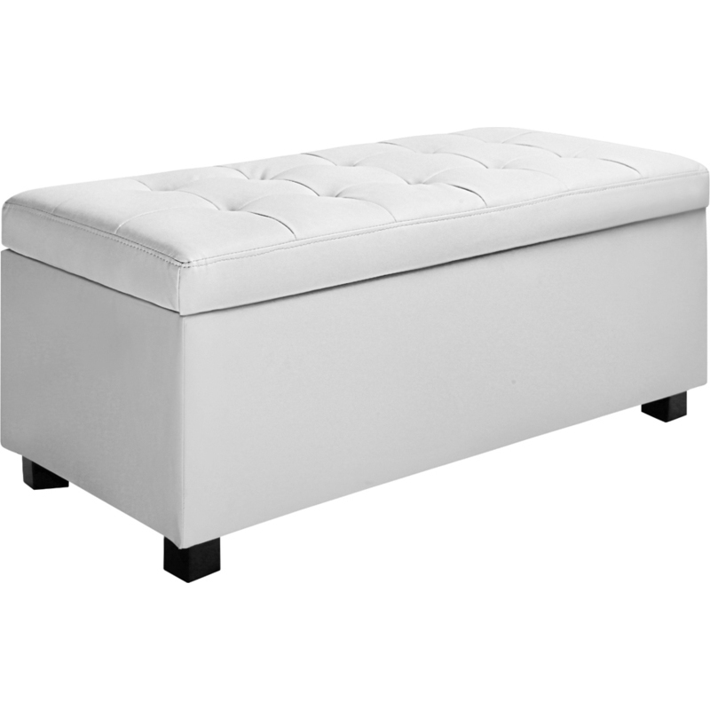 large storage ottoman bench white pu leather 102cm buy storage ottomans. Black Bedroom Furniture Sets. Home Design Ideas