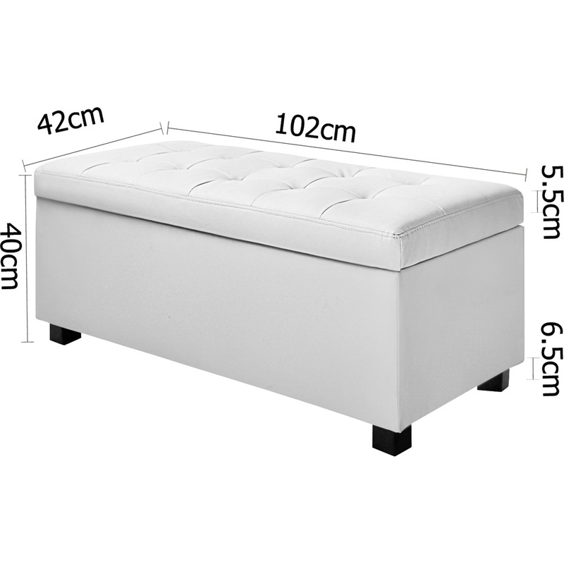 Large Storage Ottoman Bench White Pu Leather 102cm Buy