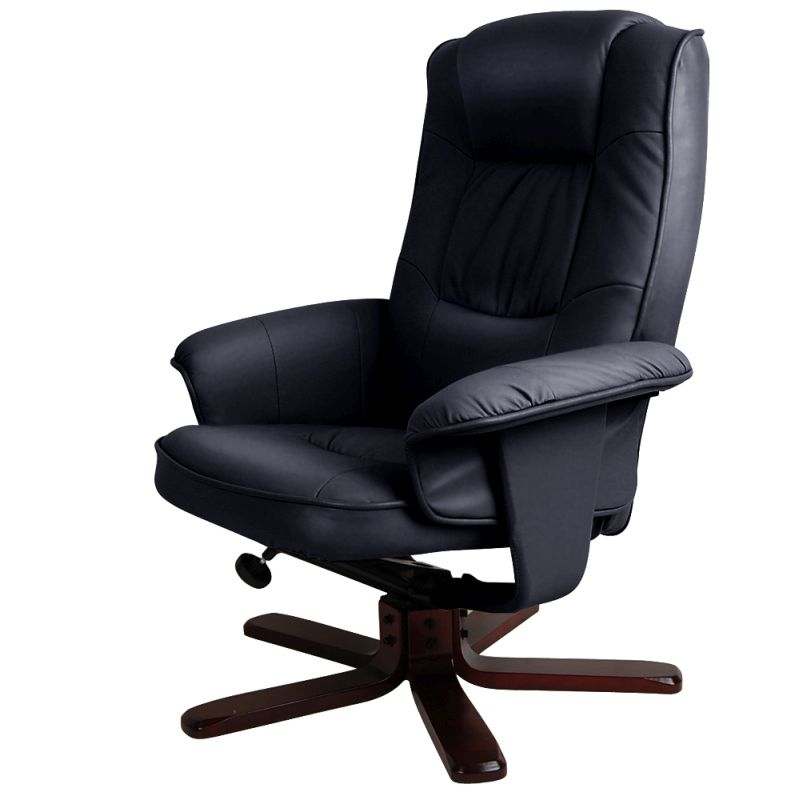 PU Leather Tilt & Swivel Armchair w/ Ottoman Black | Buy ...