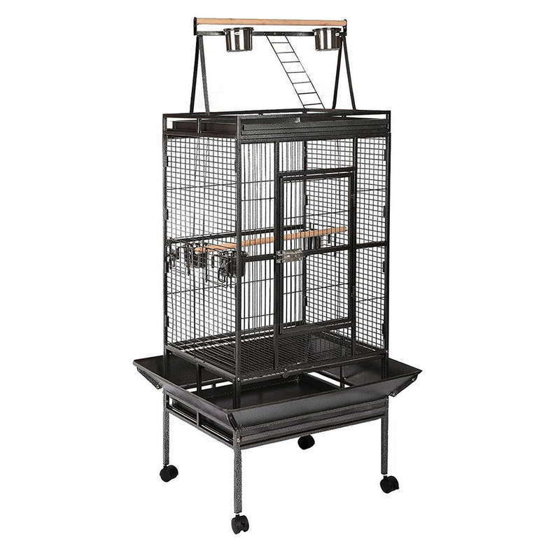 Large Iron Bird Cage with Wheels in Black 173cm | Buy Bird Cages ...