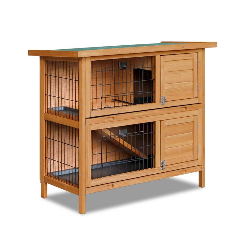 Double storey rabbit hutch cage with foldable ramp buy rabbit hutches Home furniture packages australia