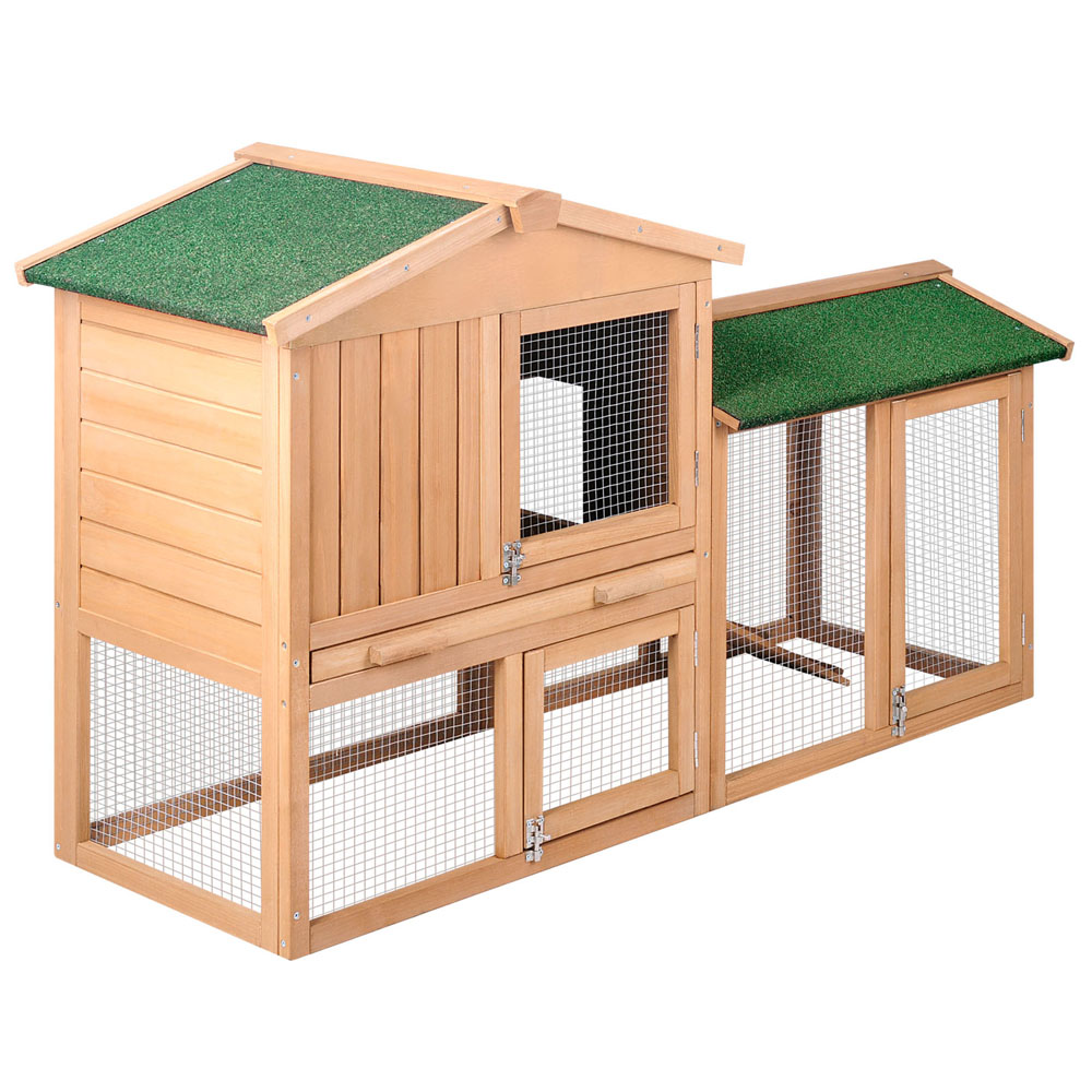 Double rabbit guinea pig hutch w under run 138cm buy for Small guinea pig cages for sale