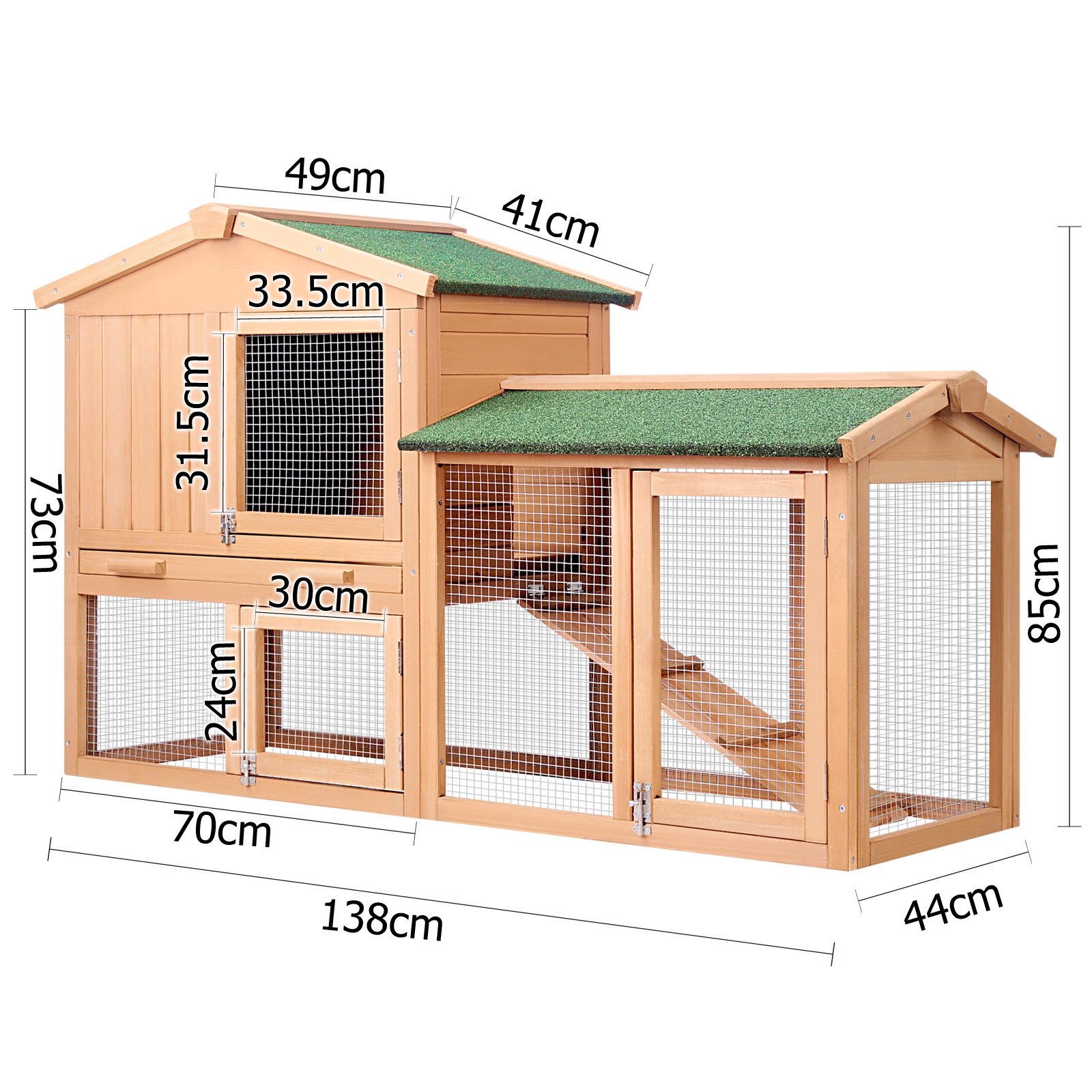 Double rabbit guinea pig hutch w under run 138cm buy for Cage exterieur pour lapin