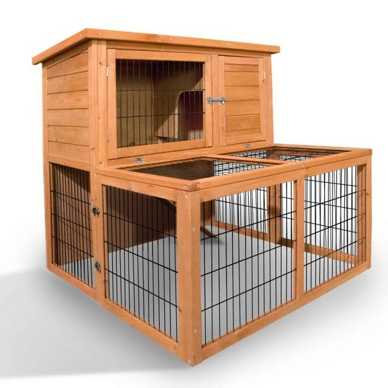 2 storey fir wood rabbit hutch w large under run buy for How to build a guinea pig cage out of wood