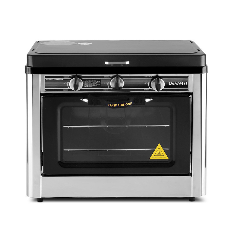 3 Burner Camp Stoves: Devanti 3 Burner Portable Oven - Silver & Black