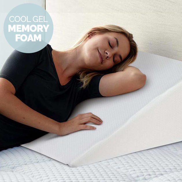 cool gel memory foam bed wedge support pillow white - Bed Wedge