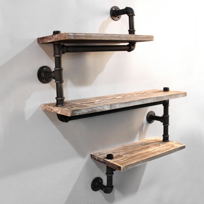 Rustic Industrial Timber & Pipe Snake Shelves 84cm | Buy ...