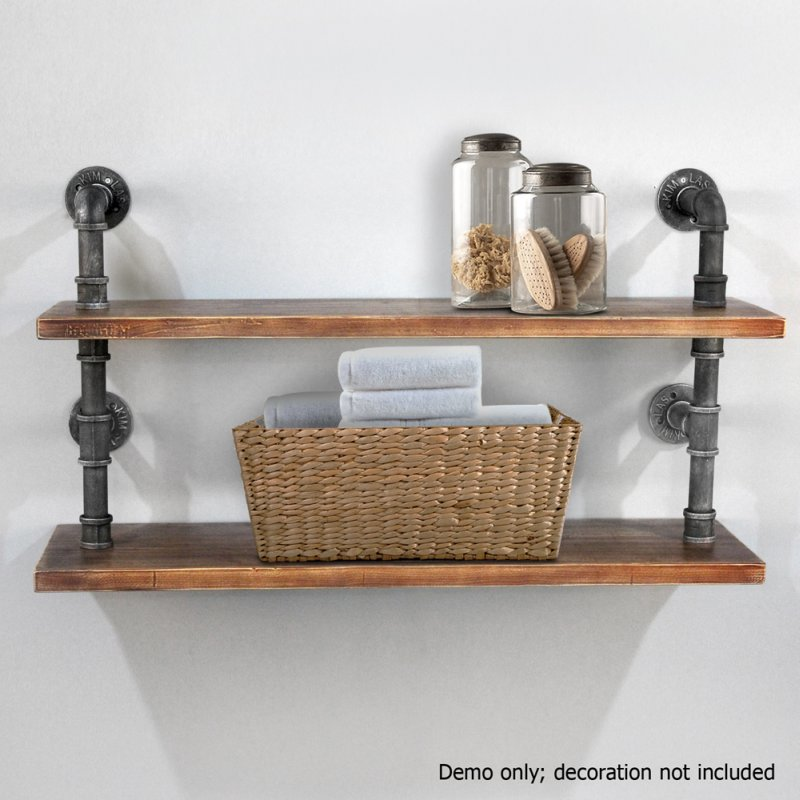 2 Rustic Industrial Pipe & Timber Wall Shelves 92cm | Buy ...