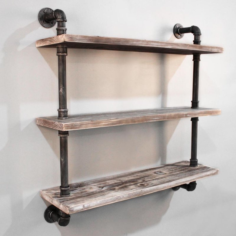3 Level Rustic Industrial Timber Amp Pipe Shelf 92cm
