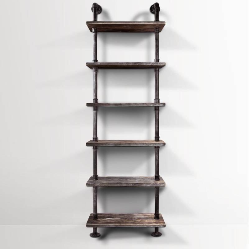 Rustic industrial 6 level metal pipe wall shelf buy wall shelves hooks - Wall metal shelf ...