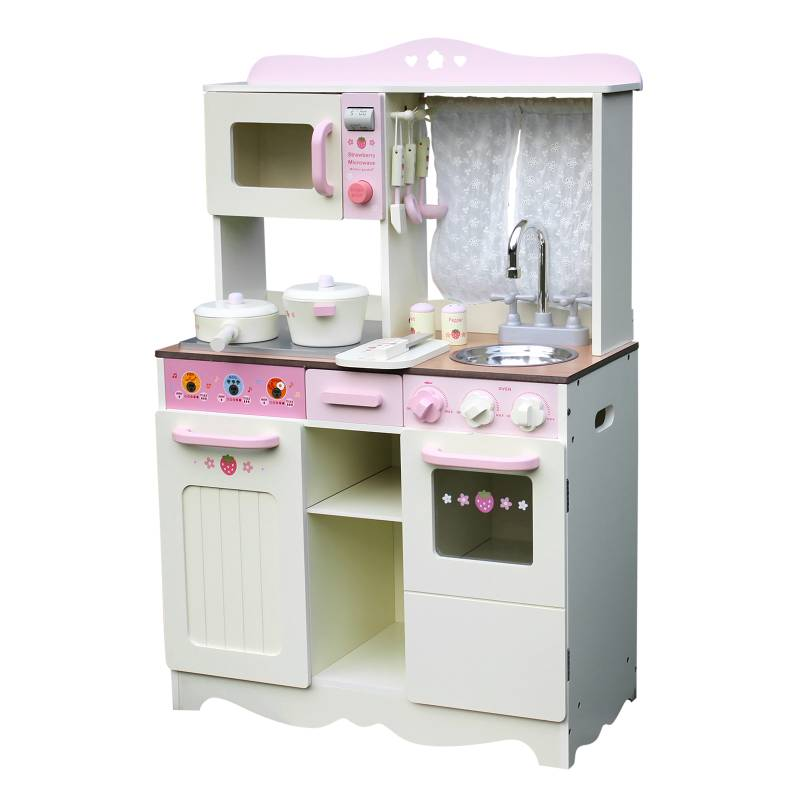 Wooden Kitchen Accessories ~ Kids wooden play kitchen w accessories white pink buy