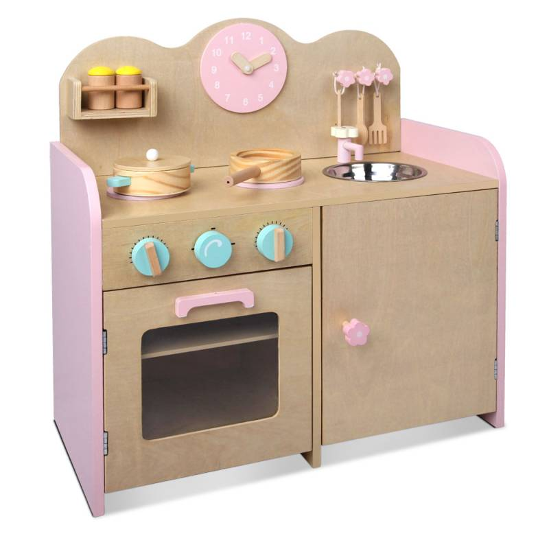 Kids Wooden Toy Kitchen W 7 Accessories In Pink Buy