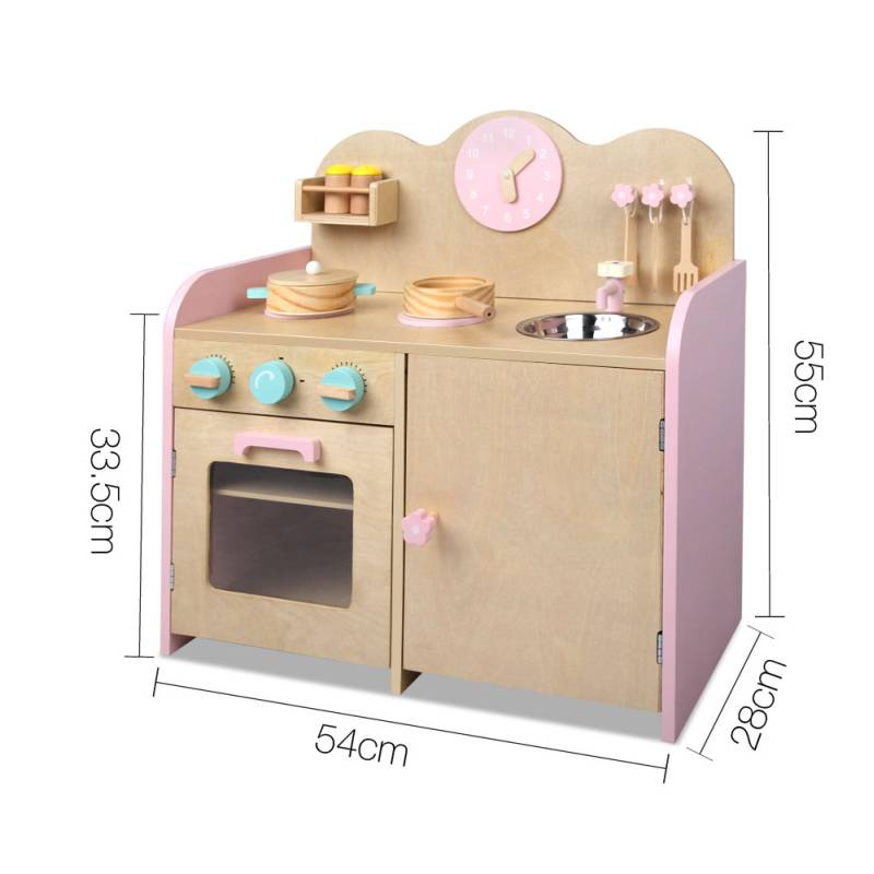 Play Kitchens On Sale: Kids Wooden Toy Kitchen W/ 7 Accessories In Pink