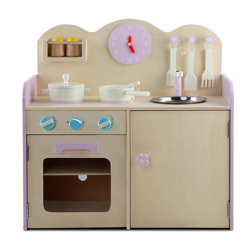 toy kitchen food accessories wooden kitchen w 7 accessories in pink buy 6316
