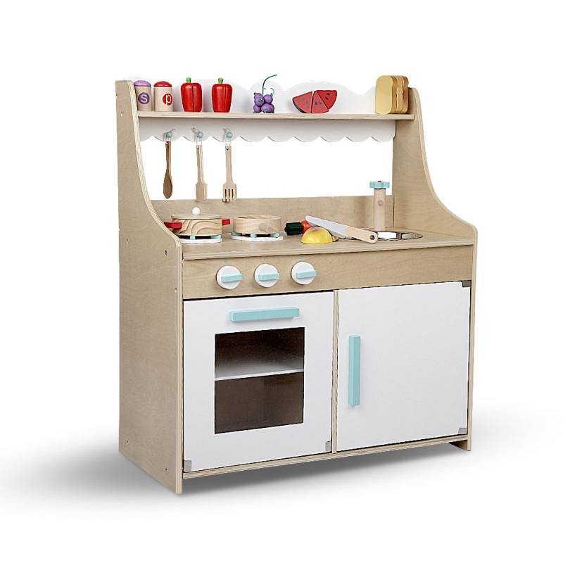 Keezi Kids Wooden Kitchen Play Set Natural White Buy Pretend