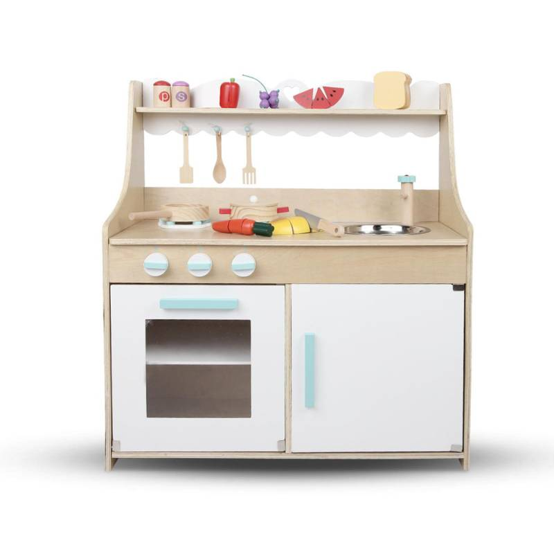 Kid 39 S Wooden Play Kitchen Set W Accessories Natural Buy