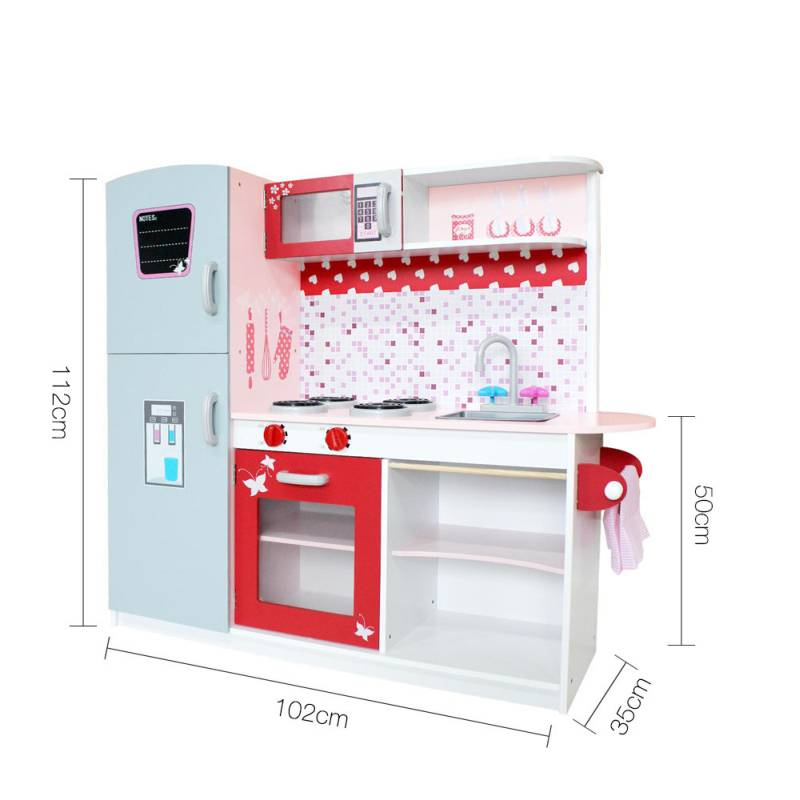 Kid 39 s mdf wood play kitchen set w fridge pink red buy for Kitchen set pink