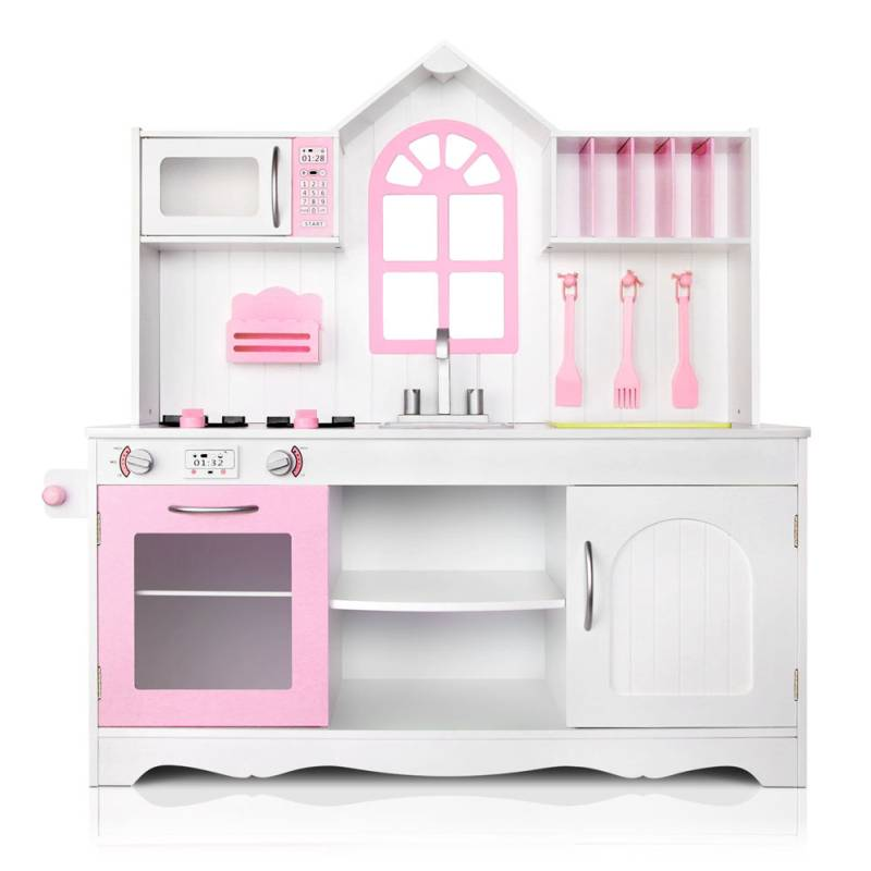Deluxe Kids Wooden Play Kitchen In White And Pink. H M S Remaining