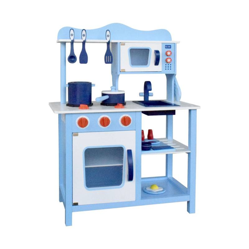Kids blue wooden kitchen play set 18 pieces buy play for Kids kitchen set sale