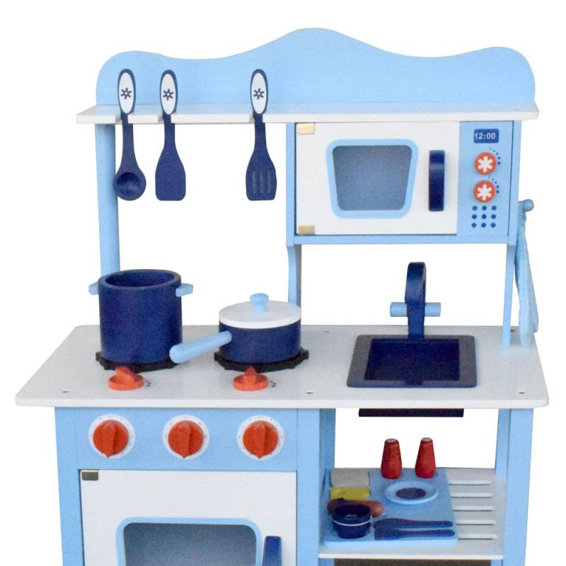 Blue Wooden Play Kitchen kids blue wooden kitchen play set 18 pieces | buy pretend play toys