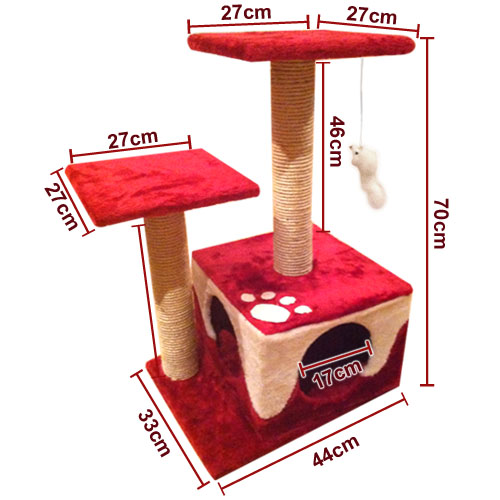 Cat Scratch Post With Platform And Hanging Toy