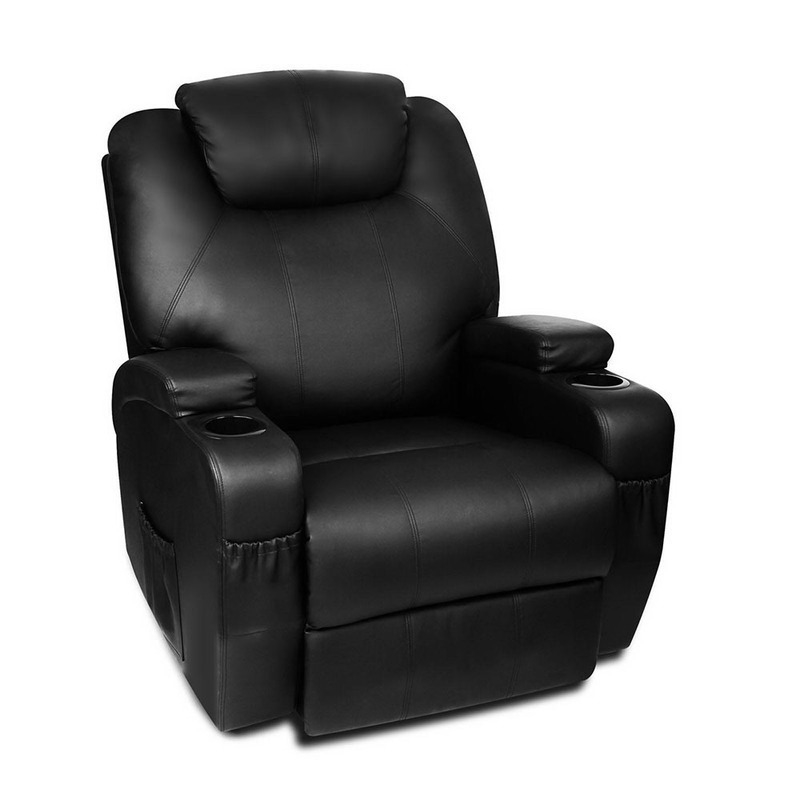 Faux Leather Recliner Massage Chair W/ Remote Black