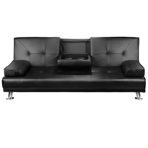 Modern pu leather 3 seater sofa bed w cup holders buy for Sofa bed 3 seater leather