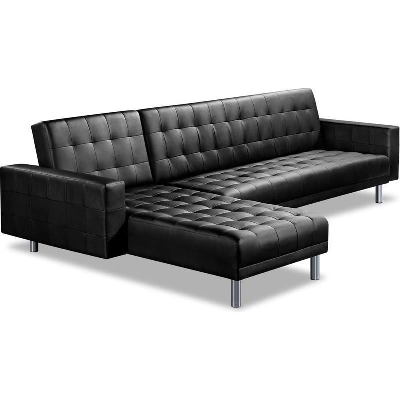 Black leather sofa bed with chaise hereo sofa for Black leather sectional sofa with chaise