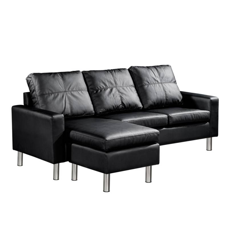 Four Seater Faux Leather Sofa With Ottoman Black Buy Couches