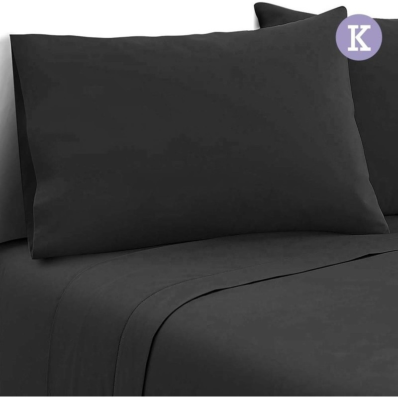 4pc king size soft microfibre sheet set in black buy for How to buy soft sheets
