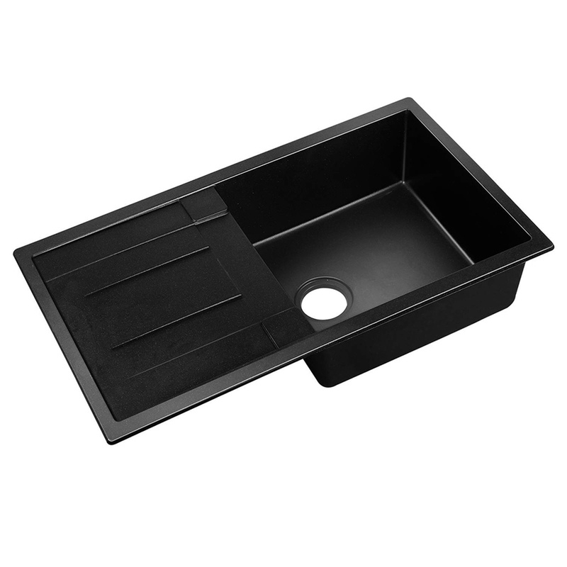Cefito 860 x 500mm Granite Double Sink - Black | Buy Kitchen Sinks ...