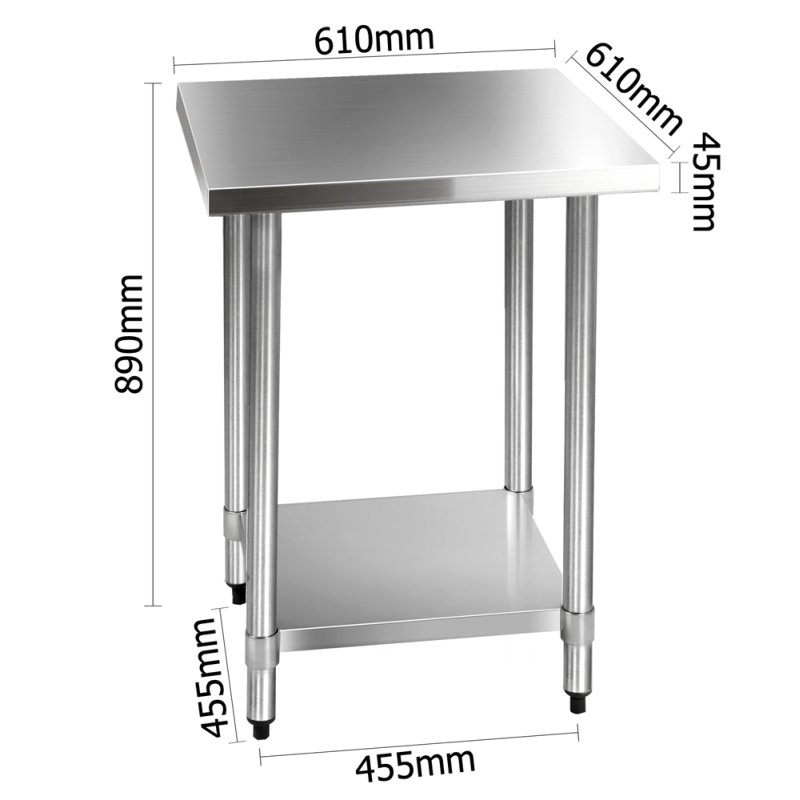 Stainless Steel Kitchen Benches: Cefito 610 X 610m Commercial Stainless Steel Kitchen Bench