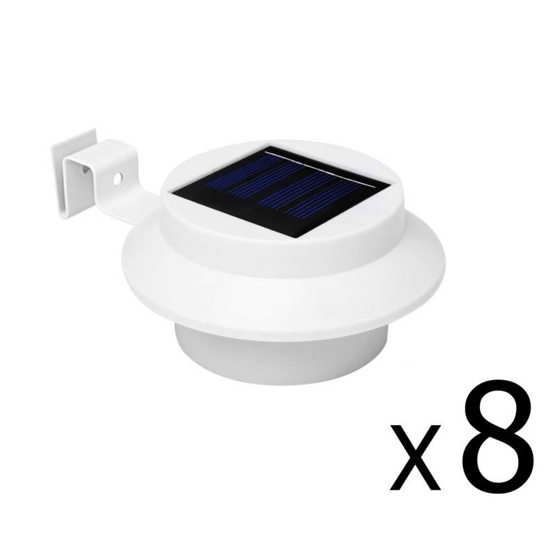 8x Solar Rechargeable LED Gutter Lights in White - Buy ...