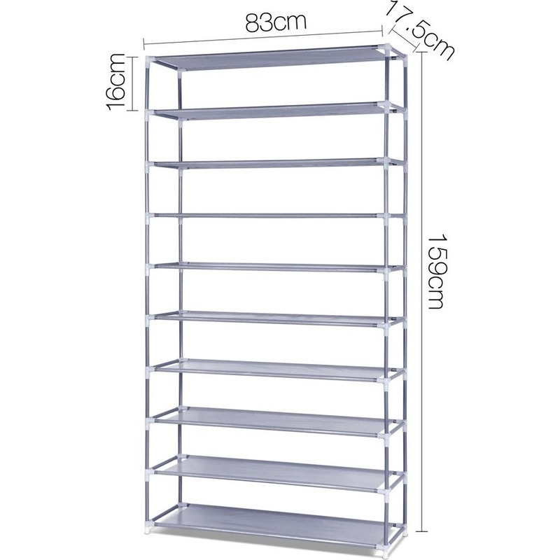 10 Tiers 50 Pair Stackable Shoe Storage Rack 160cm. H M S Remaining