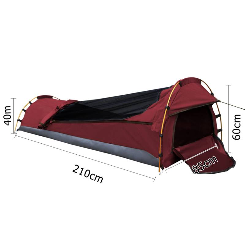 Single camping canvas swag with mattress in red buy for Bedroom kandi swag bag