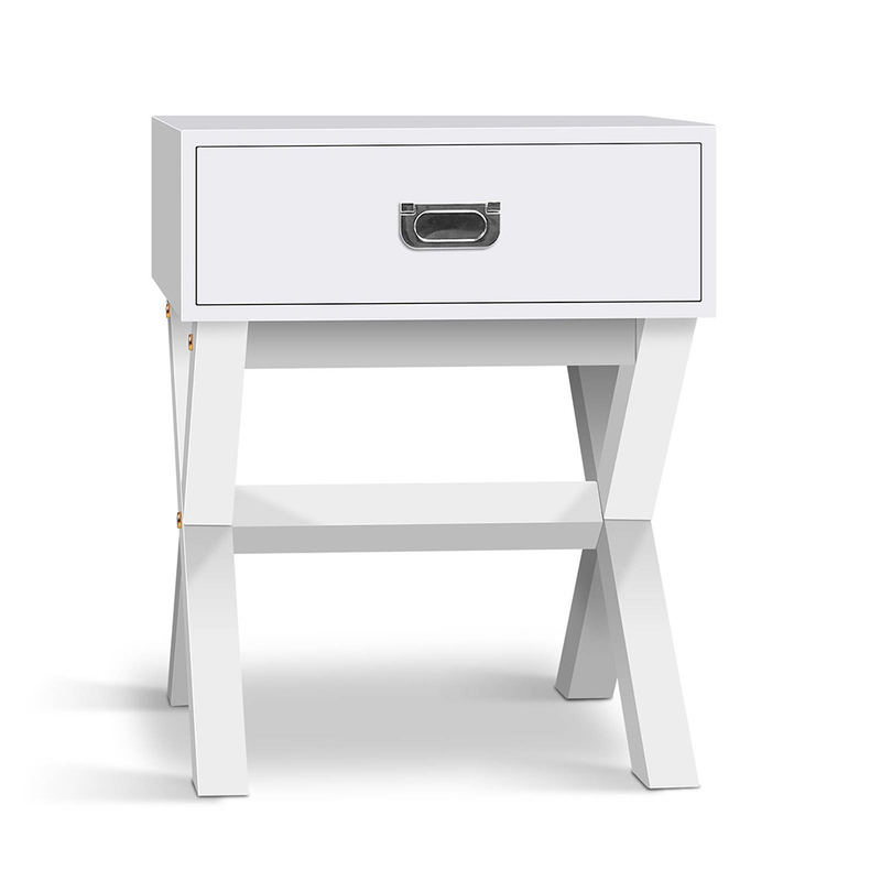 Mdf cross legged bedside table with drawer in white buy for Buy white bedside table