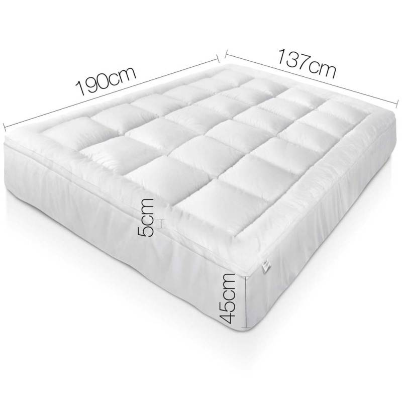 Double Bamboo Pillow Top Mattress Topper Pad 5cm