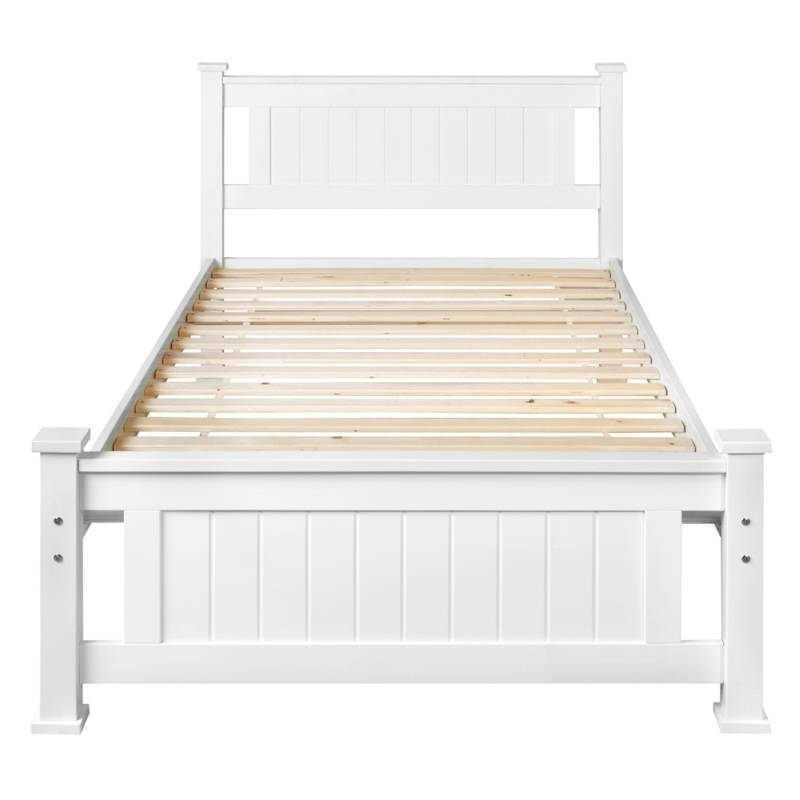King single size pine wooden bed frame in white buy 30 for Wood bed frames for king size beds
