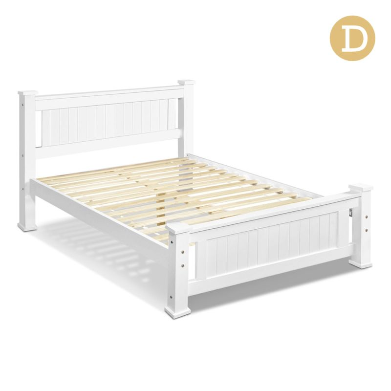belmore double size pine wood bed frame in white buy. Black Bedroom Furniture Sets. Home Design Ideas