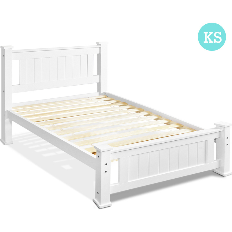 King single pine wood timber bed frame in white buy king for White bed frame