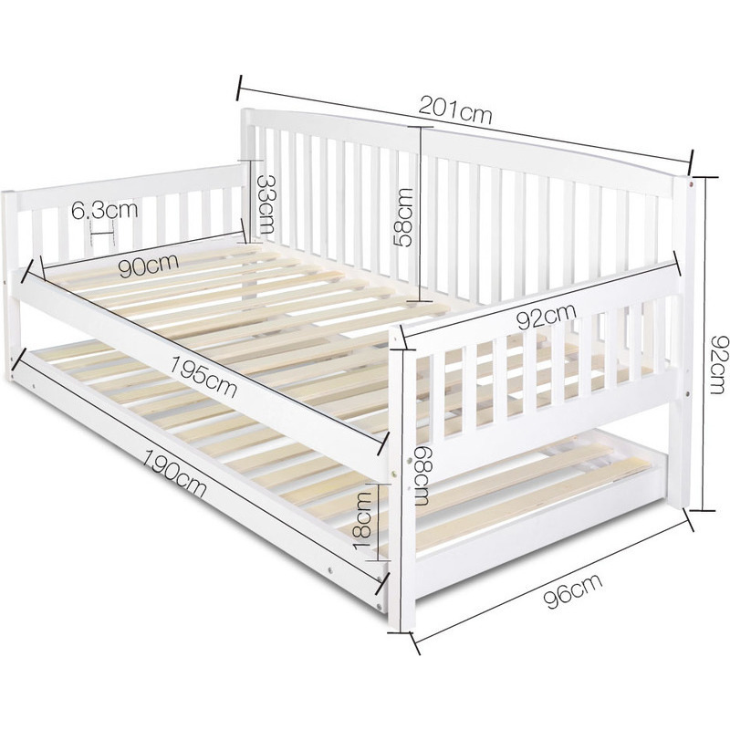 Artiss Single Size Wooden Bed Frame With Trundle Buy