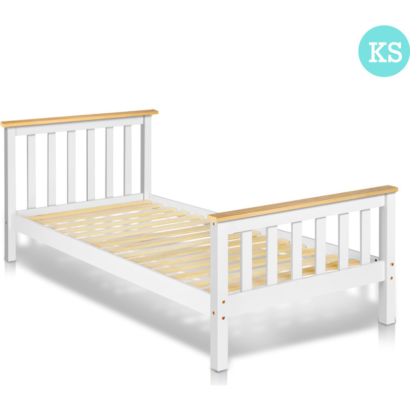 King single pine wood slatted bed frame in white buy for Bedroom furniture afterpay