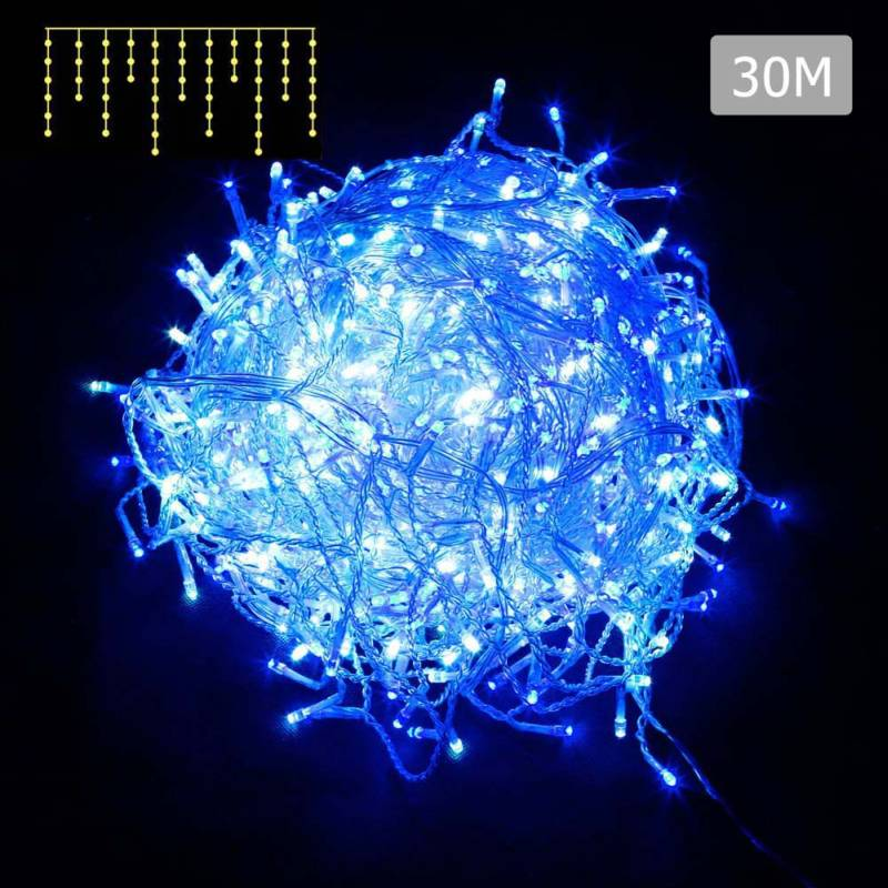 800pc led christmas icicle lights in blue 30m - Led Christmas Icicle Lights