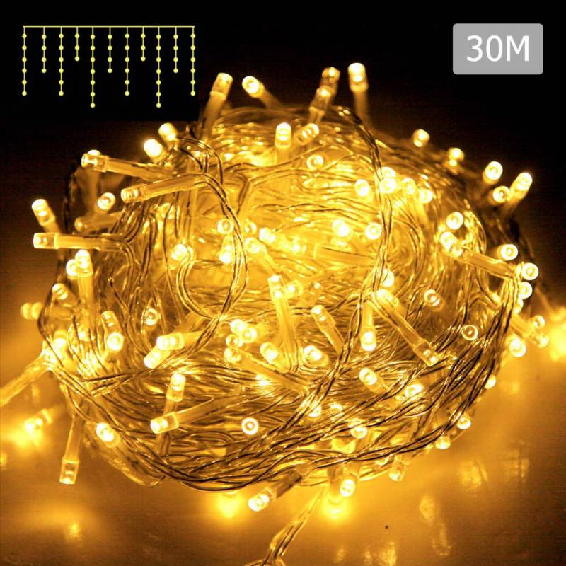 800pc Led Christmas Icicle Lights In Warm White 30m Buy