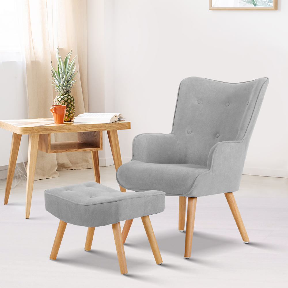 Artiss Armchair and Ottoman - Light Grey | Buy Chair ...