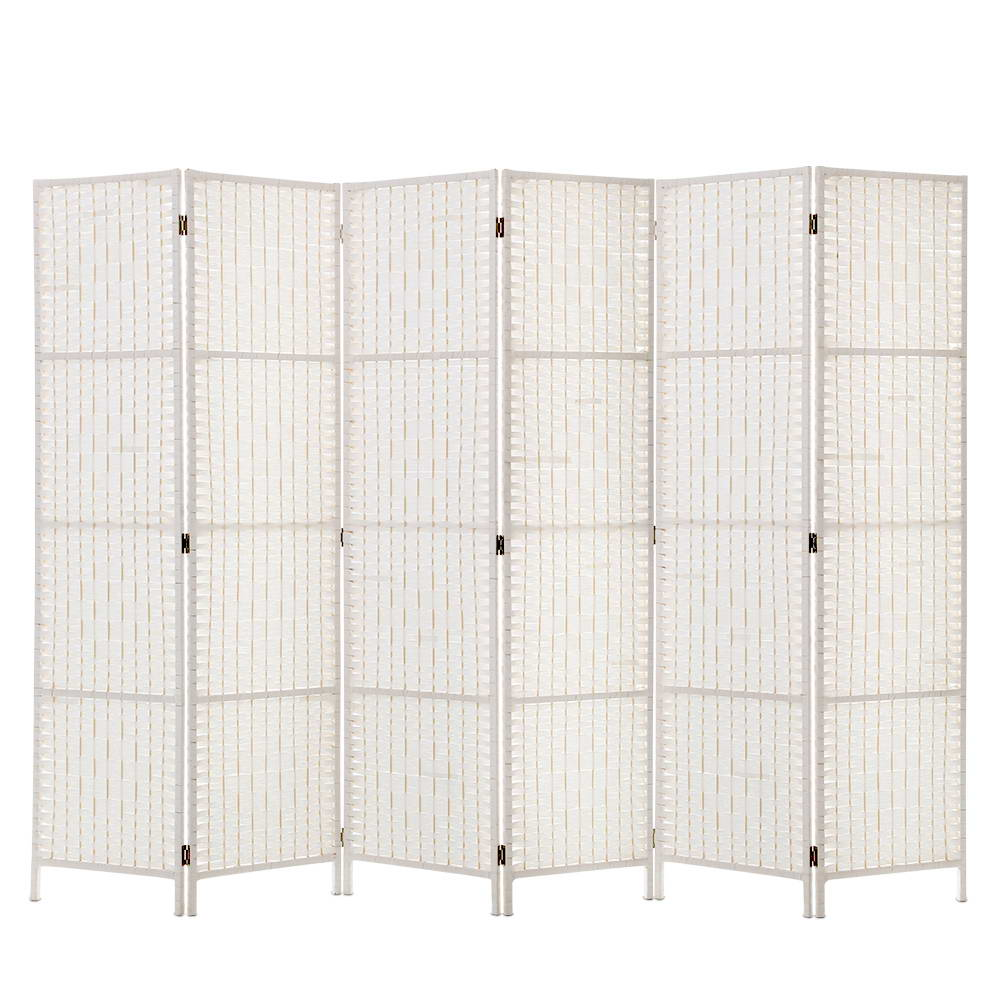 Fine Artiss 6 Panel Room Divider Privacy Screen Rattan Timber Fold Woven Stand White Download Free Architecture Designs Embacsunscenecom