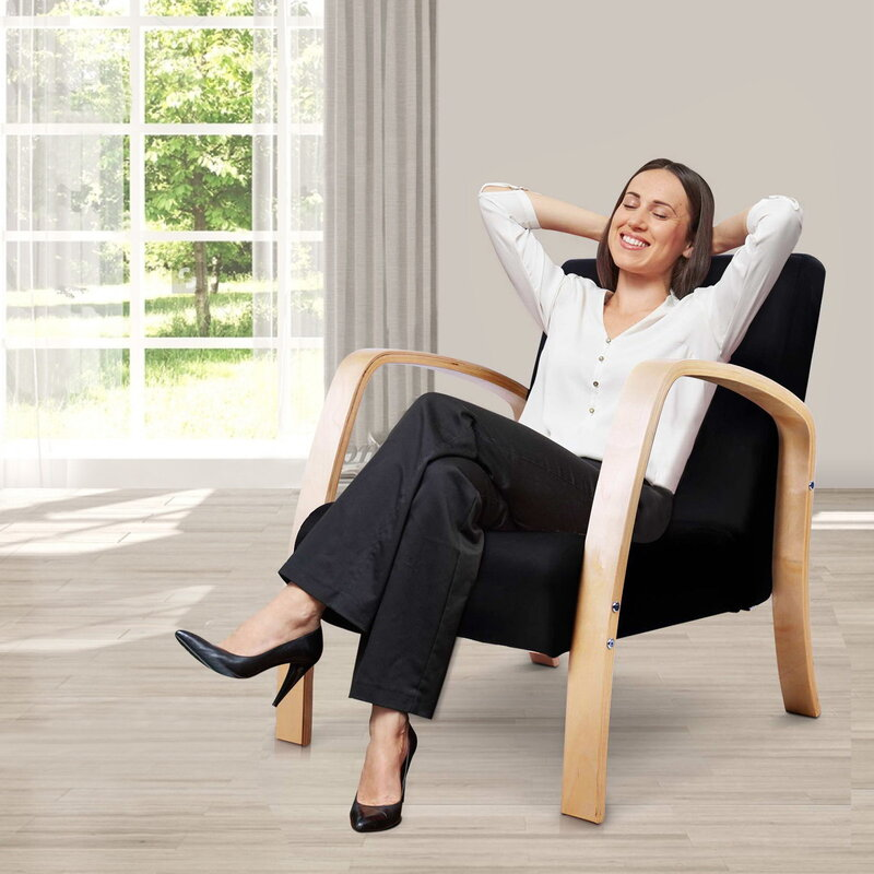 Artiss Wooden Armchair with Cushion - Black   Buy ...