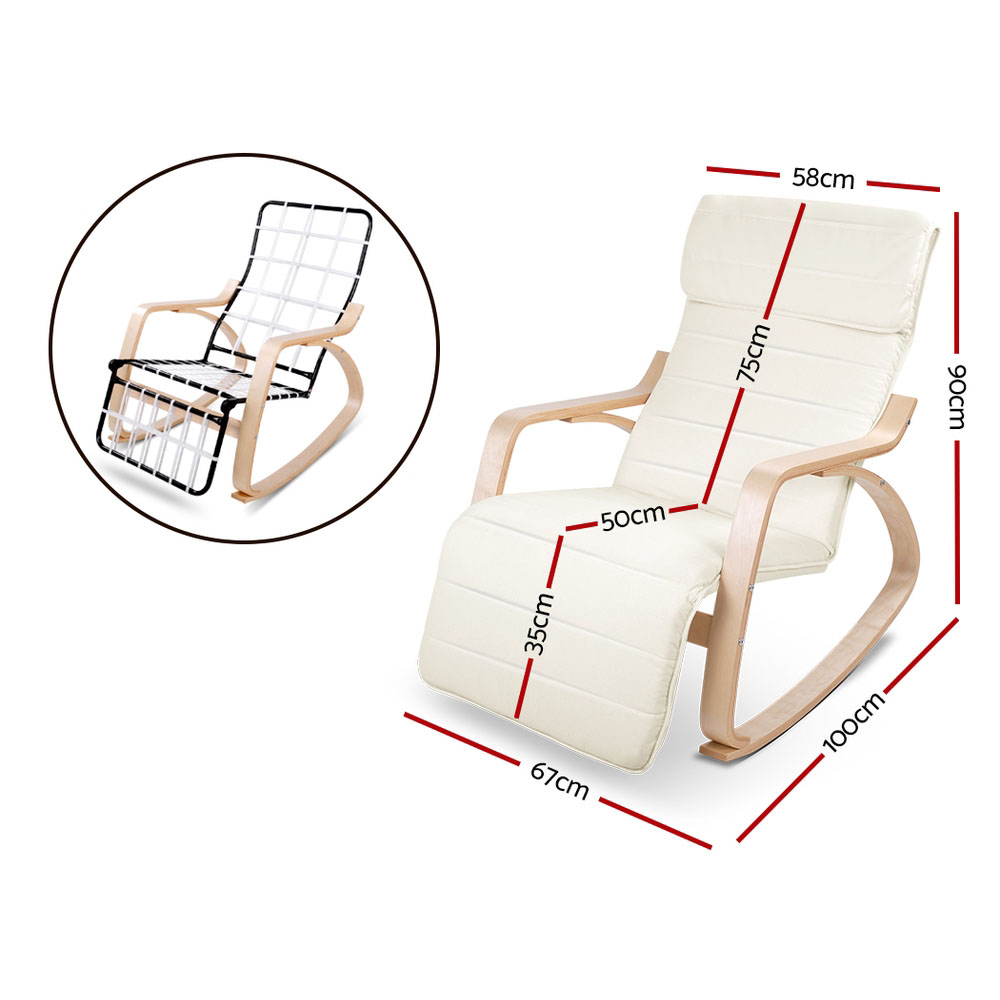 Artiss Fabric Rocking Armchair With Adjustable Footrest